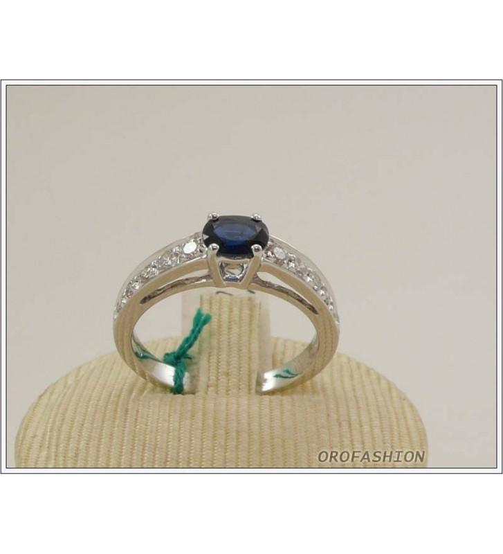 Anello oro bianco 18kt con zaffiro e diamanti - 165155