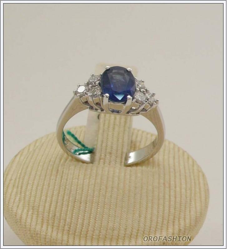 Anello oro bianco 18kt con zaffiro e diamanti - 165159