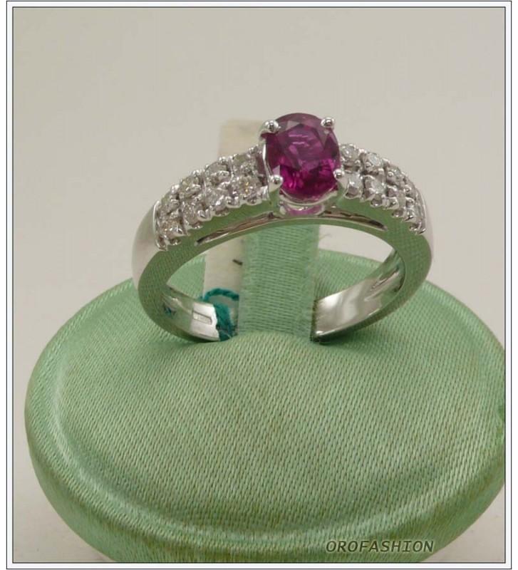 Anello oro bianco 18kt con rubino e diamanti - 1651510