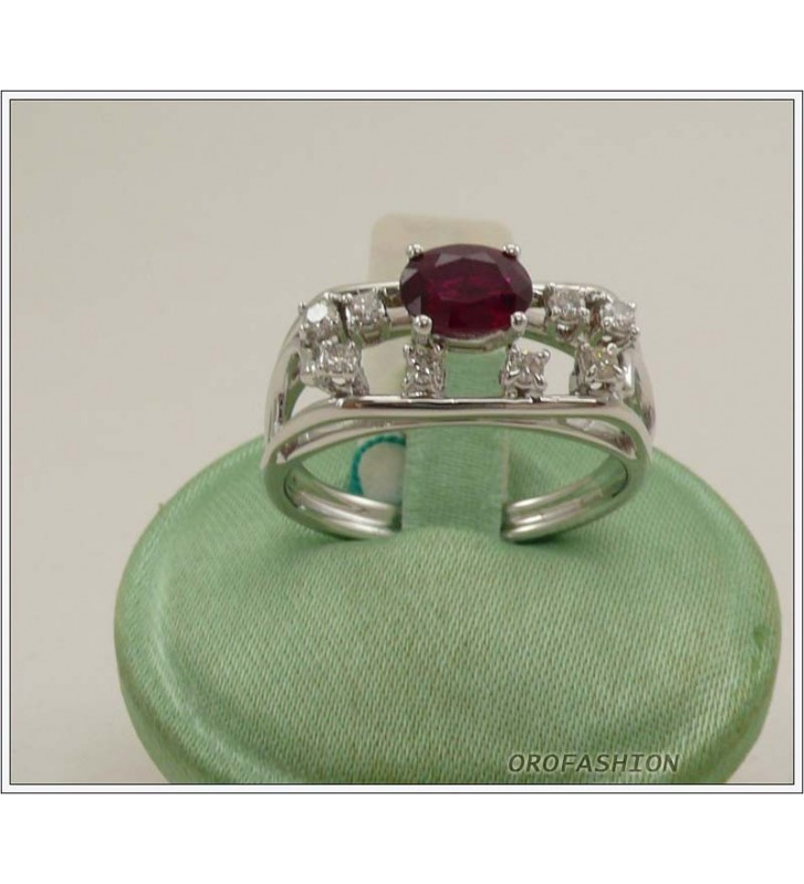 Anello oro bianco 18kt con rubino e diamanti - 1651512
