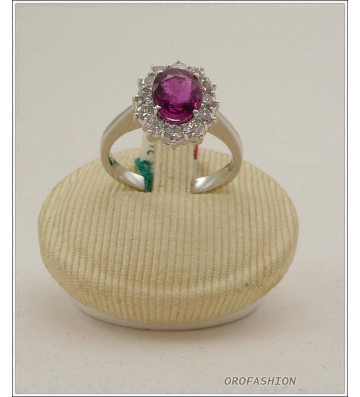 Anello oro bianco 18kt con rubino e diamanti - 1651513