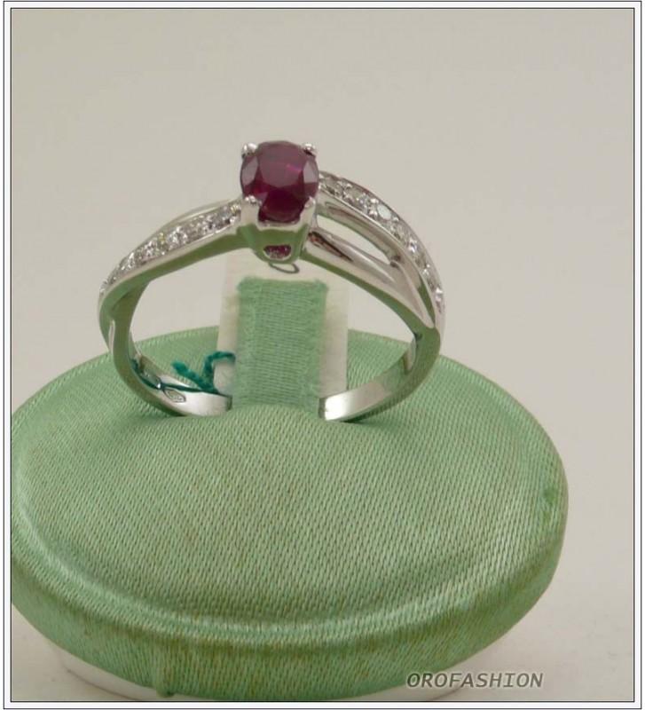 Anello oro bianco 18kt con rubino e diamanti - 1651514