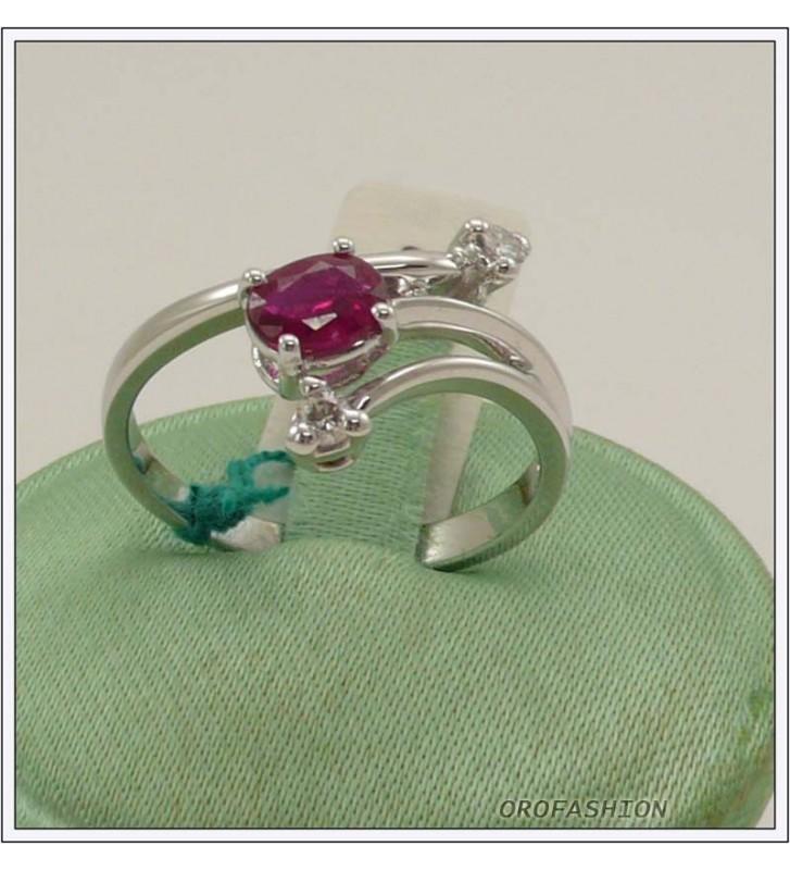 Anello oro bianco 18kt con rubino e diamanti - 1651516