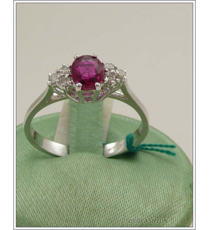 Anello oro bianco 18kt con rubino e diamanti - 1651518