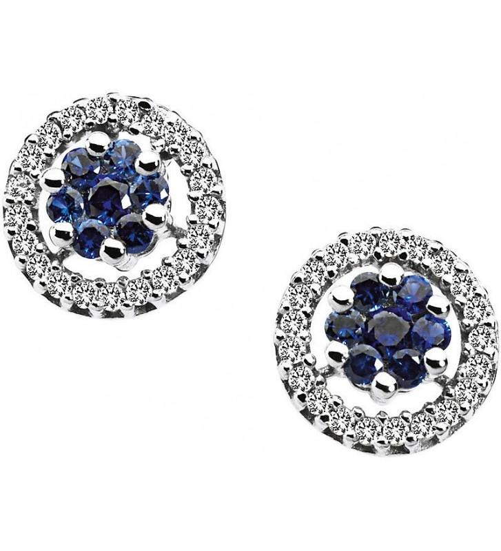 SALDI Orecchini COMETE GIOIELLI in oro bianco 18Kt, zaffiri blu e diamanti - ORB519