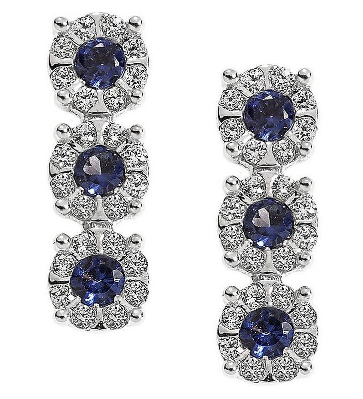 SALDI Orecchini COMETE GIOIELLI in oro bianco 18Kt, zaffiri blu e diamanti - ORB715