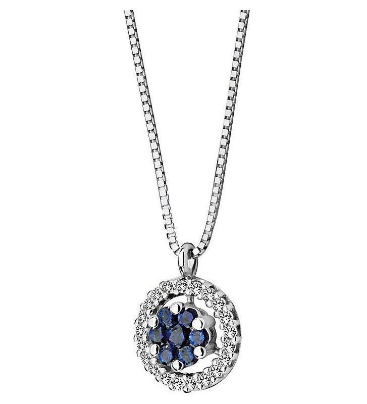 SALDI Girocollo COMETE GIOIELLI oro bianco, zaffiri blu e diamanti GLB624