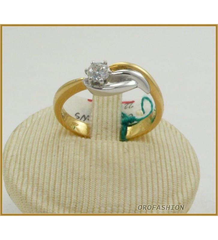 Anello oro bianco 18kt con diamante solitario - 22101521