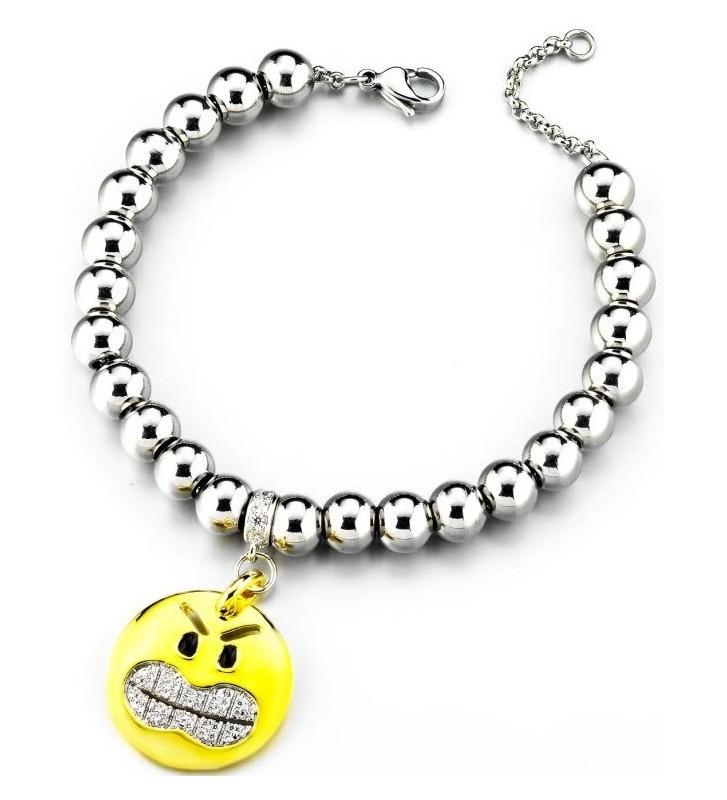 SALDI Bracciale acciaio DIMMIjewels Emoticons - Smile Stai alla larga DM-SMAL
