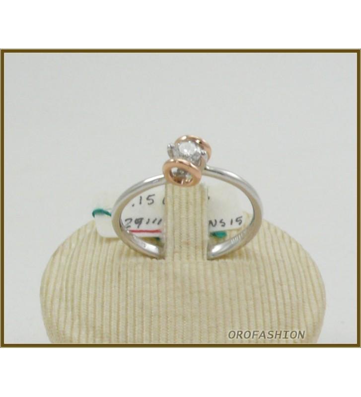 Anello oro bianco 18kt con diamante solitario - 2911153