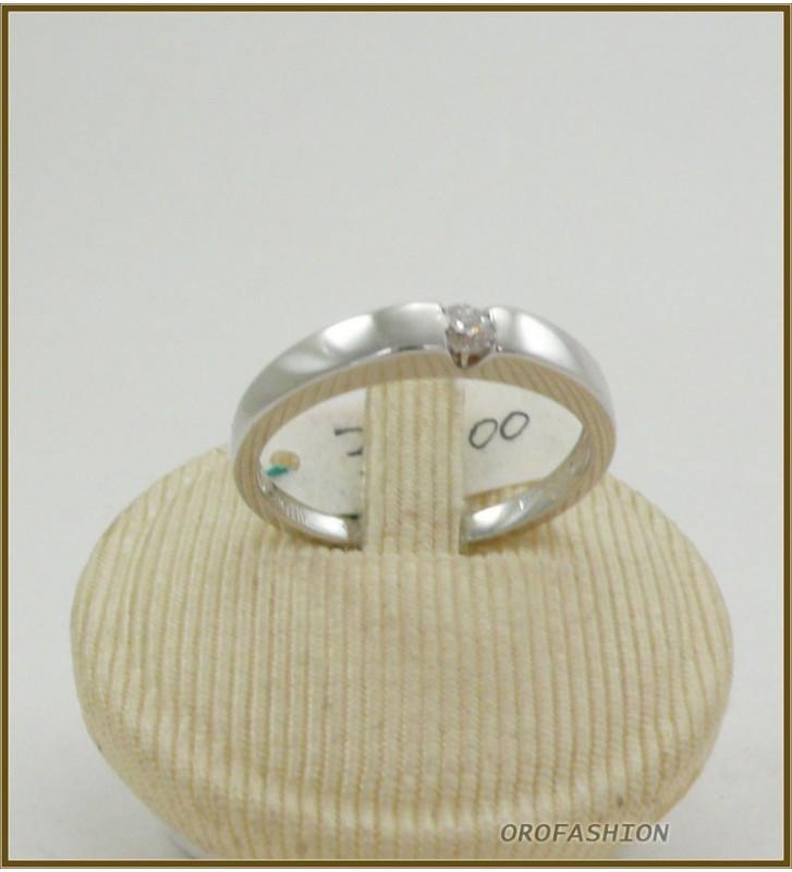 Anello oro bianco 18kt con diamante solitario - 29111513