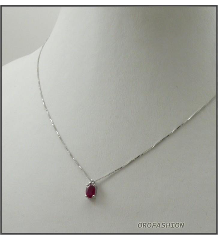 Girocollo in oro bianco 18kt con rubino naturale e diamanti - 10121510