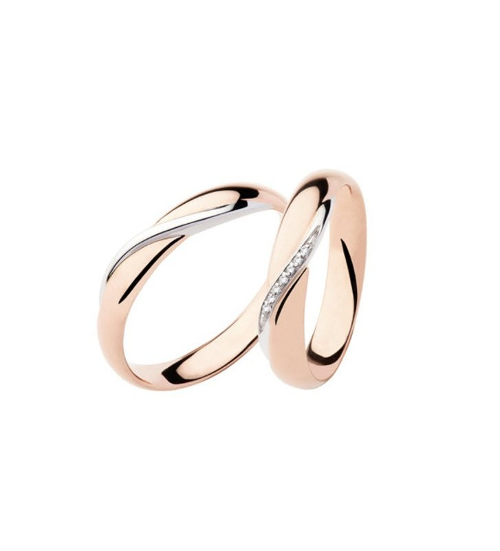 Fede nuziale POLELLO in Oro Bianco e Rosa 18kt con Diamanti - D2892DRB