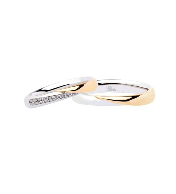 Fede nuziale POLELLO in Oro Bianco e Giallo 18kt con Diamanti - L2839DBG