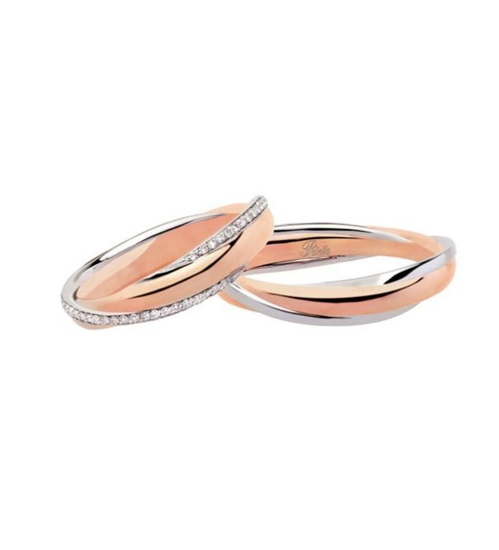 Fede nuziale POLELLO in Oro Bianco e Rosa 18kt - D3067DBR