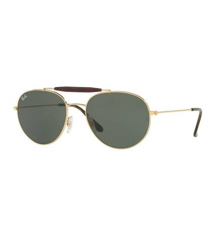 Occhiali sole Ray Ban New RB3540 001 53 Gold Green