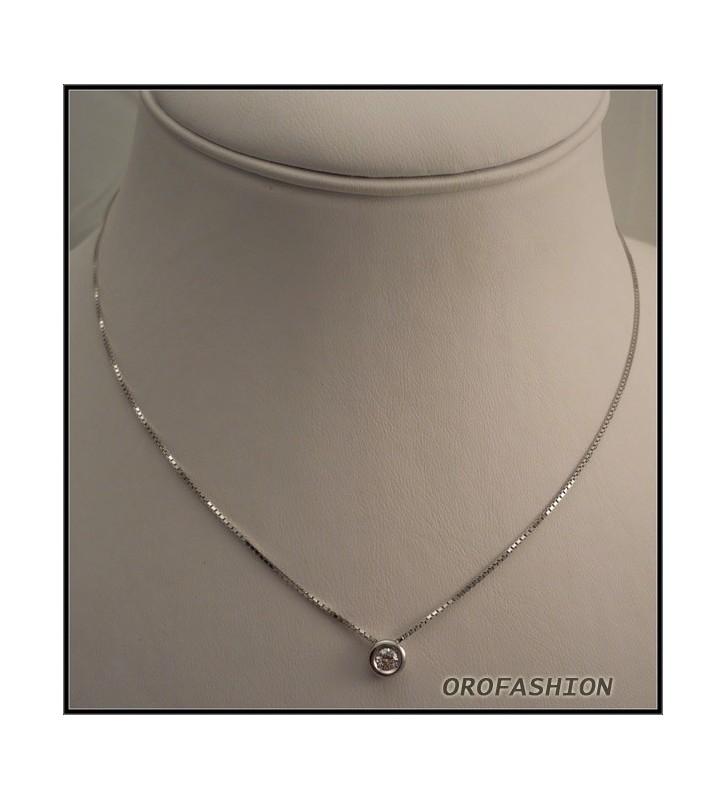 Girocollo in oro bianco diamante solitario Valore 480