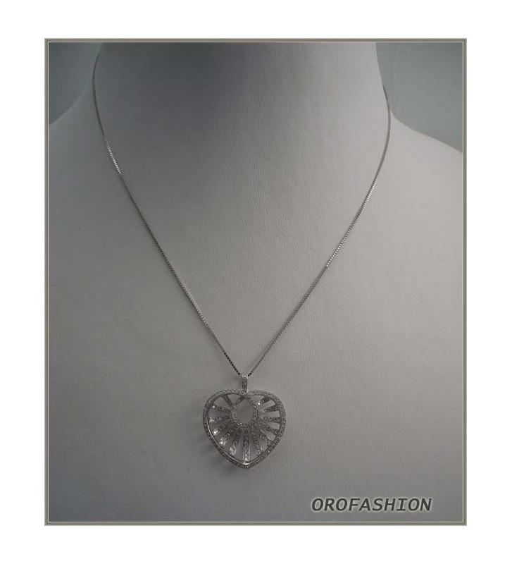 Girocollo in oro bianco fantasia diamanti Valore 920