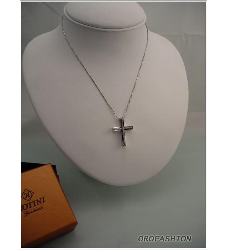 Girocollo oro bianco 18Kt croce di diamanti Valore 650
