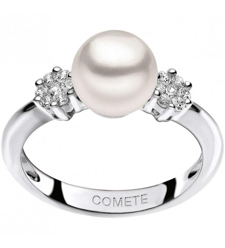 SALDI Anello COMETE GIOIELLI oro bianco con perla e diamanti naturali ANP343