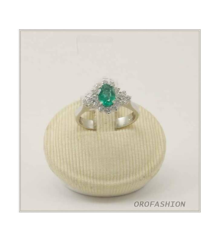 Anello in oro 18Ktcon diamanti e smeraldi 1312161