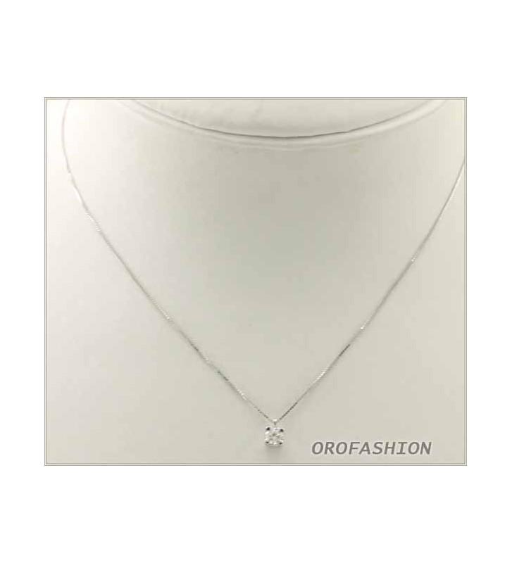 Girocollo in oro bianco 18Kt diamante solitario - 1312163