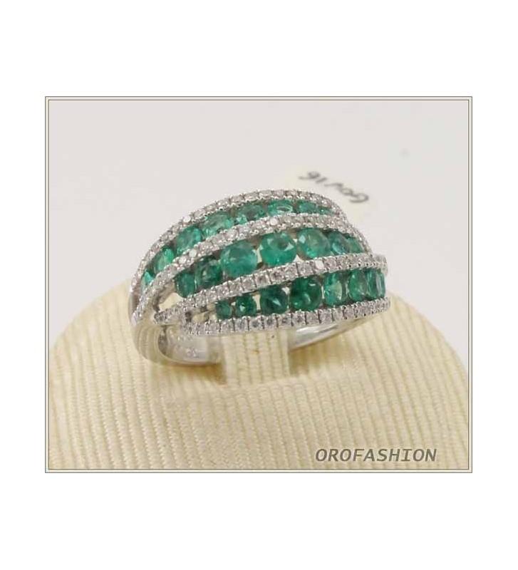 Anello oro 18Kt con diamanti e smeraldi 13121611