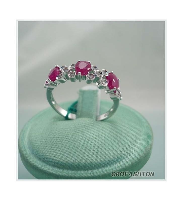 Anello in oro bianco diamanti e rubini - Valore 580