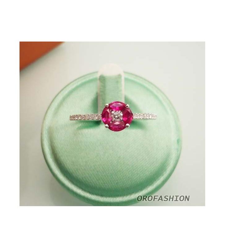 Anello oro bianco con rubini e diamanti - Valore 690
