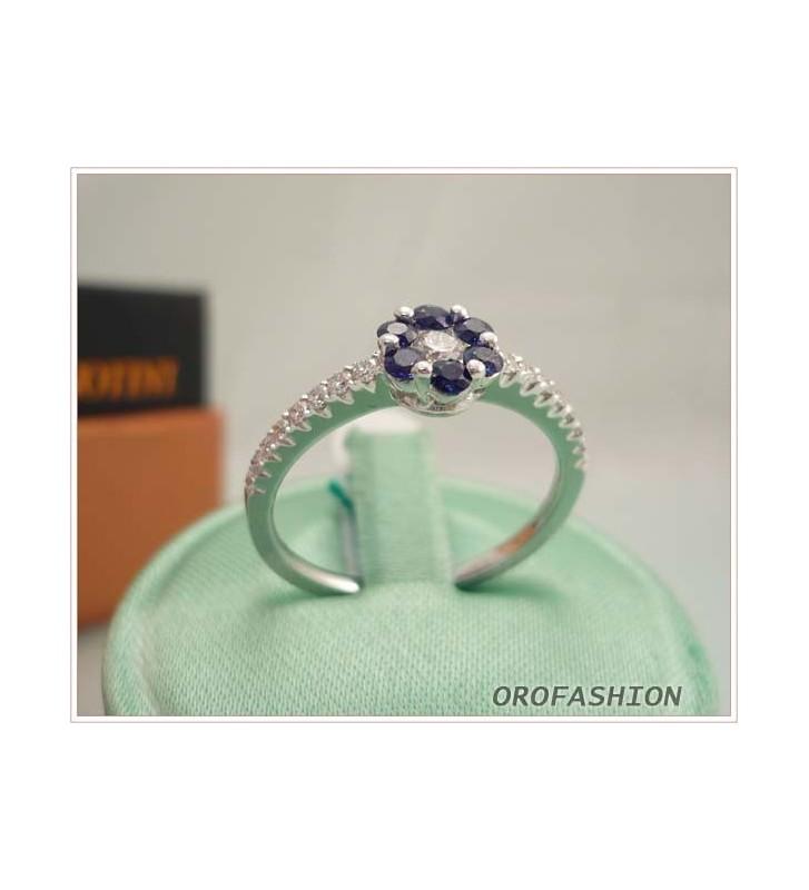 Anello oro bianco con zaffiri e diamanti - Valore 650