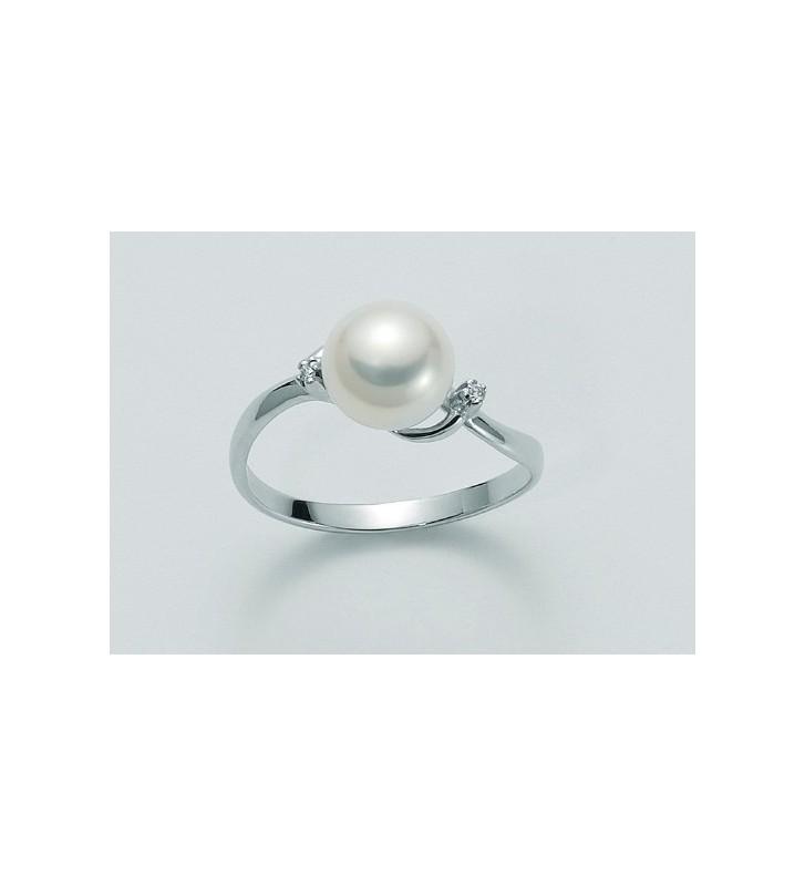 SALDI Anello MILUNA oro bianco 18kt con diamanti e perla - PLI945