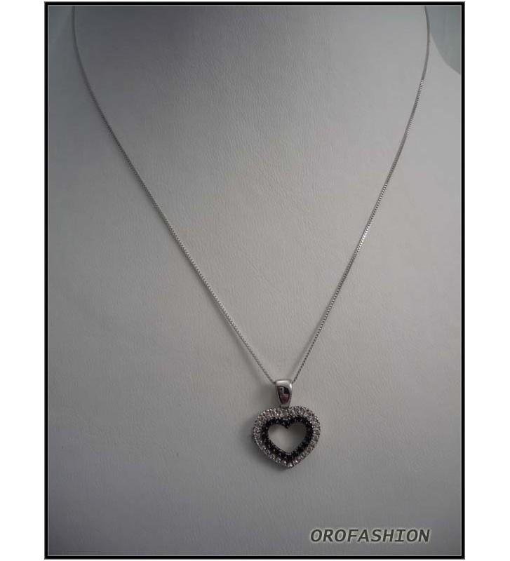 Girocollo oro 18Kt effetto diamanti neri 13051122