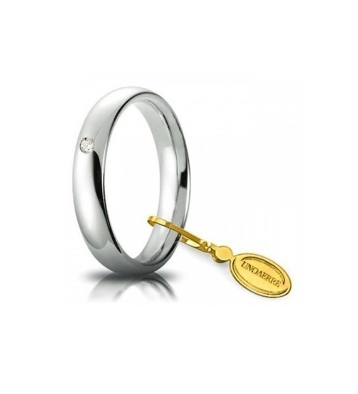 Fede UNOAERRE Fedi Comode 4 mm in oro bianco con diamante
