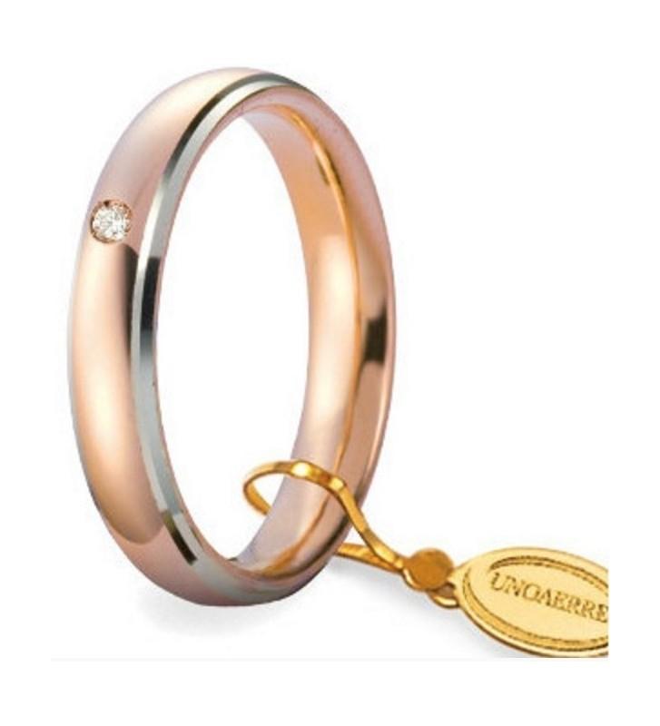 Fede UNOAERRE Fedi Comode 4 mm in oro rosa bordi bianchi con diamante