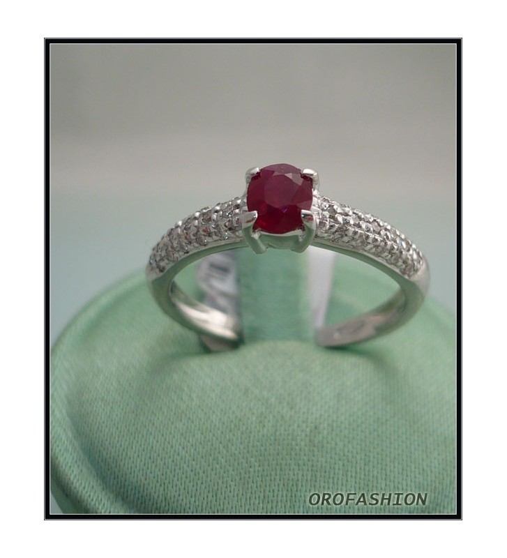 Anello oro bianco con rubino e diamanti 10091111 Valore 650