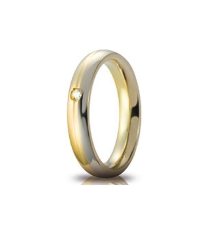 Fede UNOAERRE Fedi Cerchi di Luce 4 mm Eclissi in oro bicolore con diamante