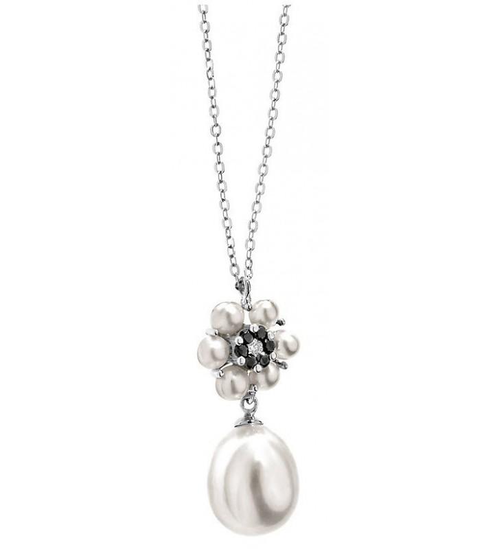 SALDI Girocollo COMETE GIOIELLI in oro 18kt con perla e diamanti GLP436