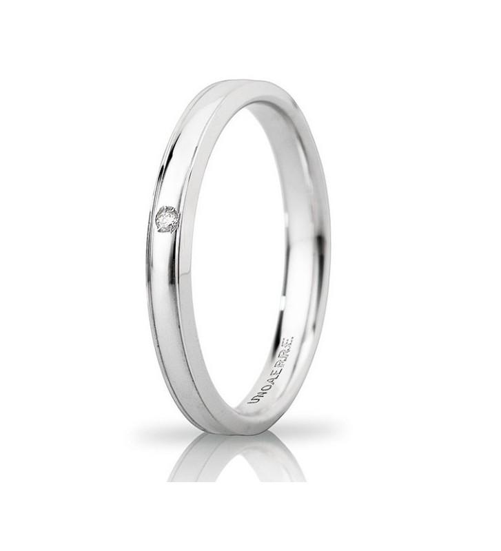 Fede UNOAERRE Fedi Brillanti Promesse Orion Slim in oro bianco con diamante