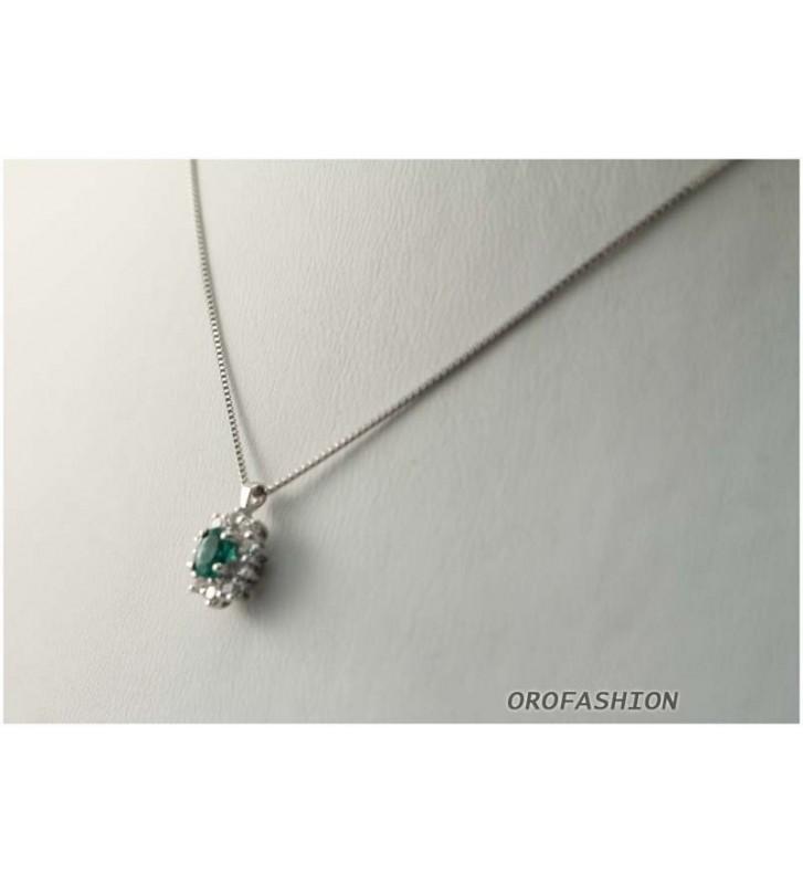 Girocollo in oro bianco 18kt smeraldi e diamanti - 1703151 Valore 640