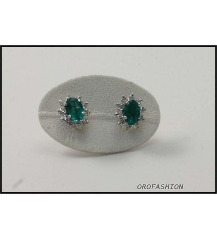 Orecchini in oro bianco con smeraldi e diamanti 16091310 - Valore 1350