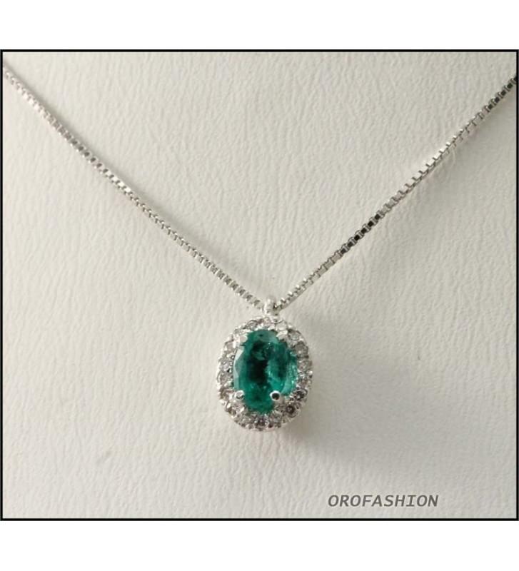 Girocollo in oro bianco 18kt smeraldi e diamanti - 1703152 Valore 760