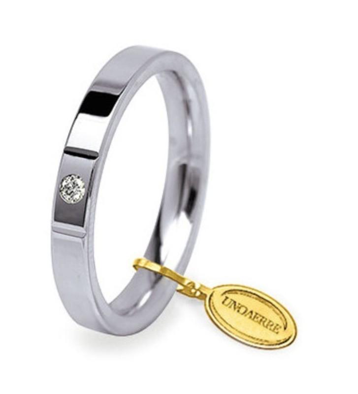 Fede UNOAERRE Fedi Cerchi di Luce 3,5 mm in oro bianco con diamante