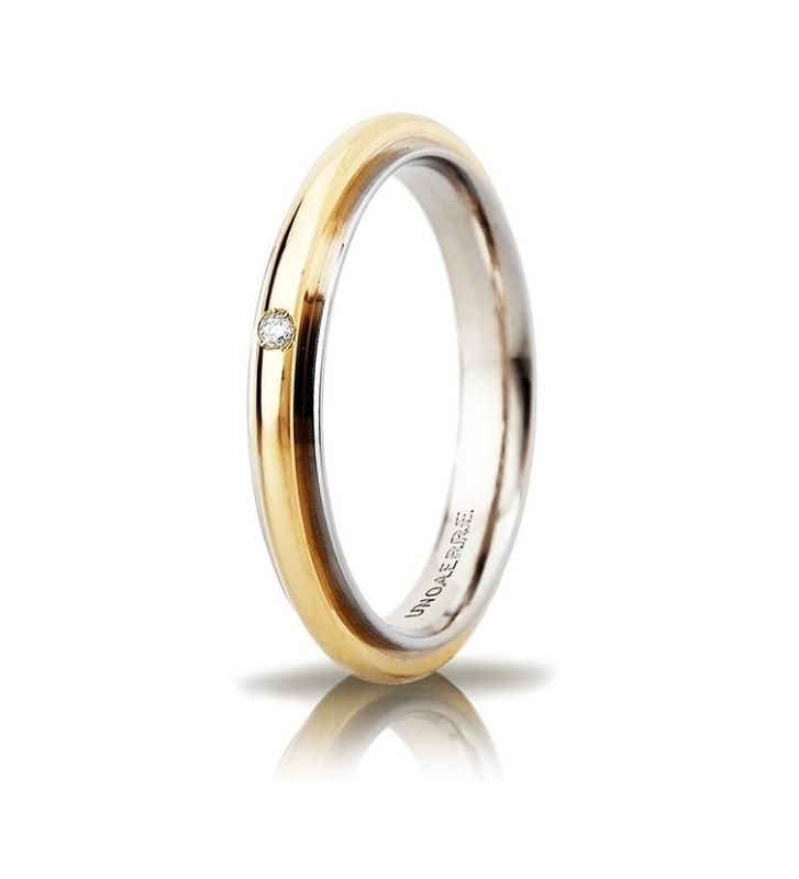 Fede UNOAERRE Fedi Brillanti Promesse Andromeda Slim in oro bicolore con diamante