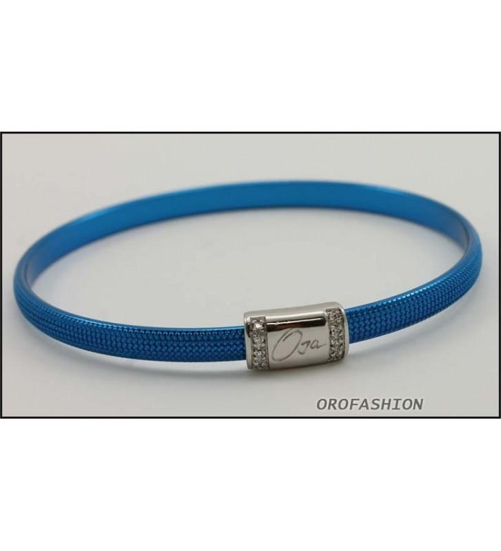 SALDI Bracciale BYBLOS acciaio colore blu 9809 - Diametro 6,2 cm
