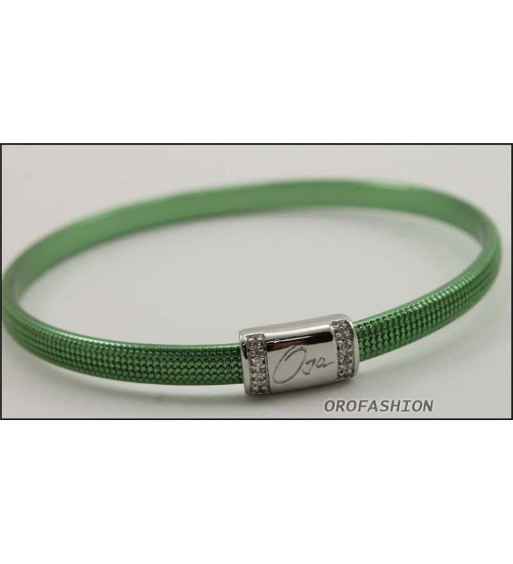 SALDI Bracciale BYBLOS acciaio colore verde 9809 - Diametro 6,7 cm