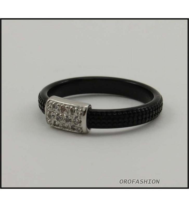 SALDI Anello BYBLOS in metallo con cristalli SWAROVSKI, nero 9810 - misura 14
