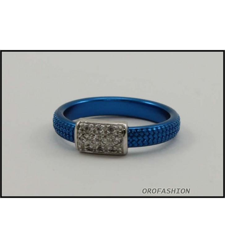 SALDI Anello BYBLOS in metallo con cristalli SWAROVSKI, blu 9810 - misura 12