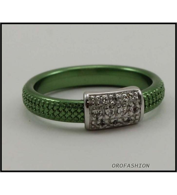 SALDI Anello BYBLOS in metallo con cristalli SWAROVSKI, verde 9810 - misura 14