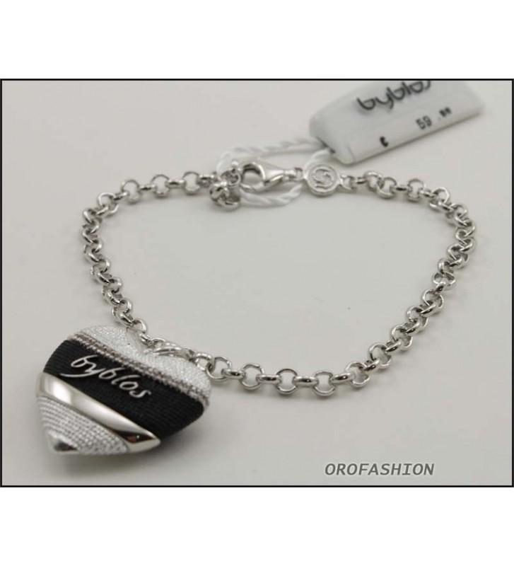SALDI Bracciale BYBLOS cuore in metallo color silver e nero - 9518
