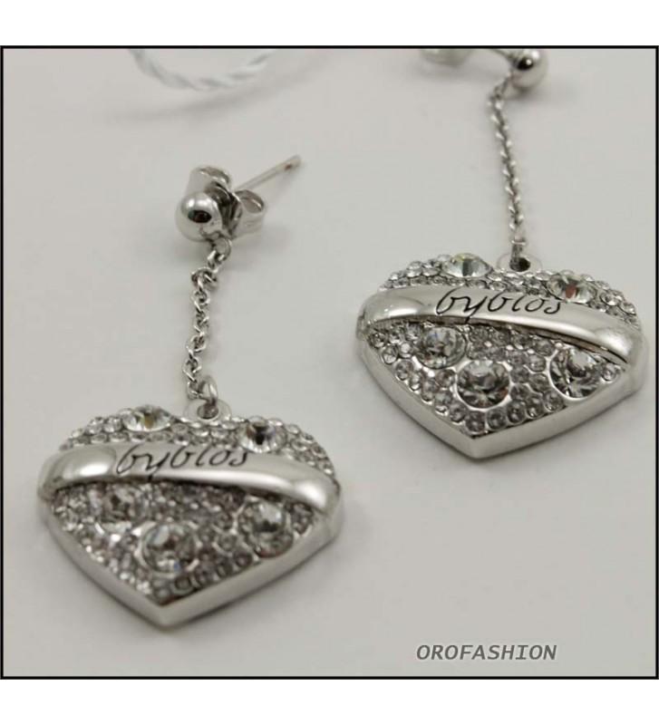 SALDI Orecchini BYBLOS a cuore - 90102 - metallo silver con cristalli Swarovski